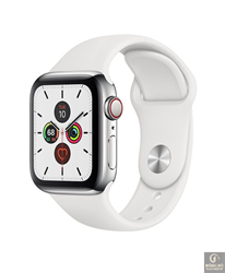 Đồng hồ Apple Watch Series 5 40mm, Stainless Steel, White Sport Band MWWR2
